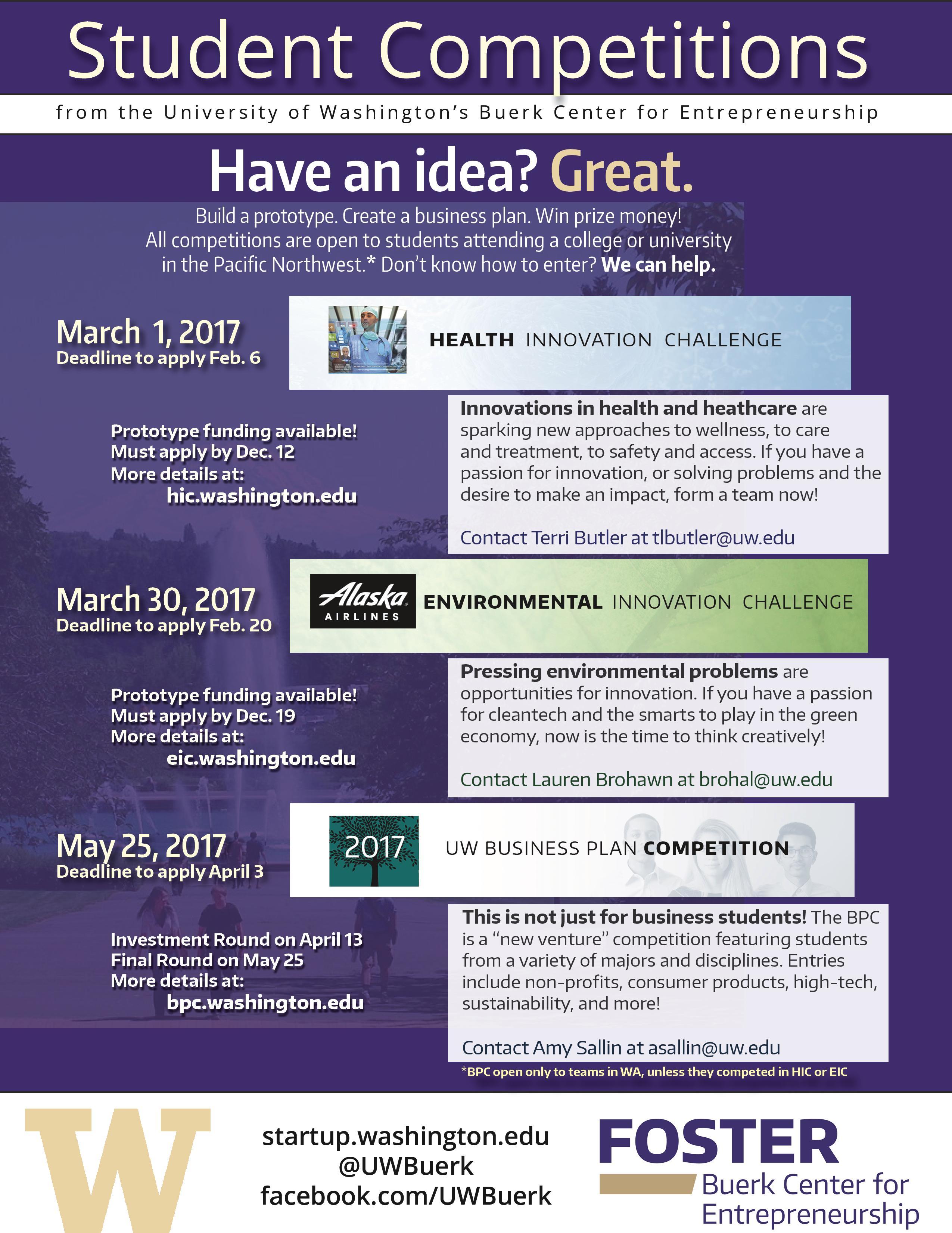 Funding: UW Buerk Center Student Competitions | UW iSchool Office of
